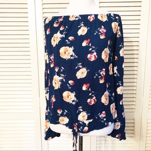 BP | XL Blue Floral Off Shoulder Blouse